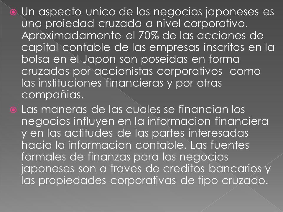 Un aspecto unico de los negocios japoneses es una proiedad cruzada a nivel corporativo.