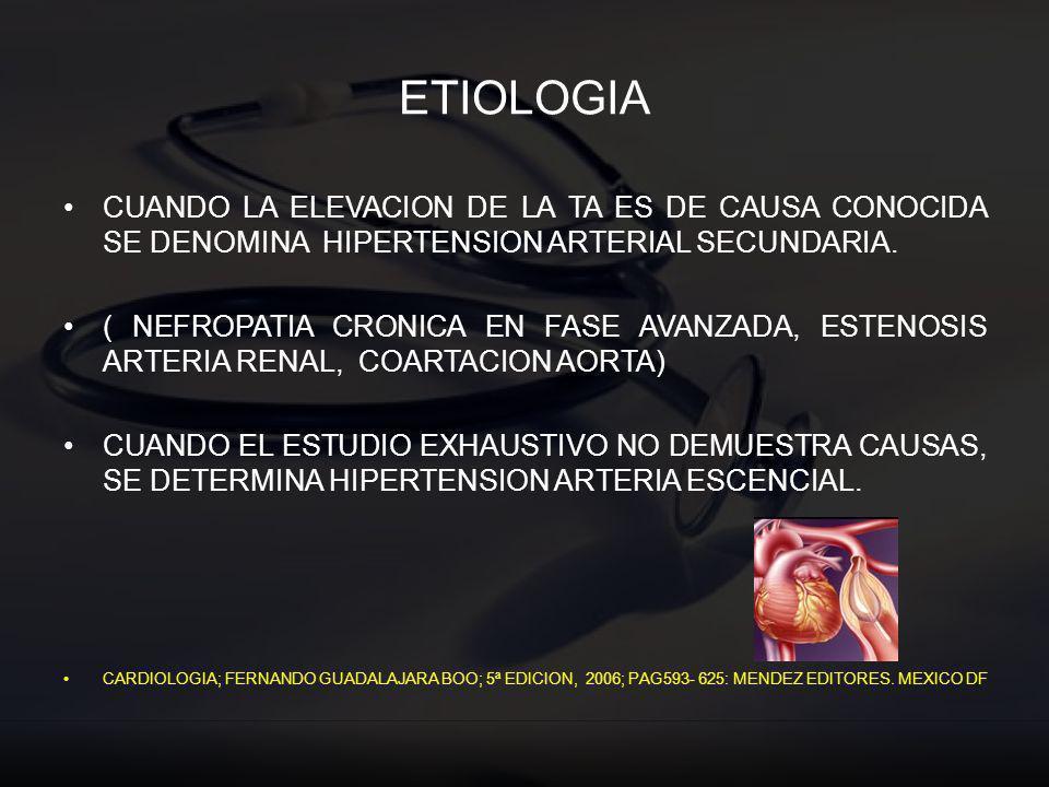 ETIOLOGIA CUANDO LA ELEVACION DE LA TA ES DE CAUSA CONOCIDA SE DENOMINA HIPERTENSION ARTERIAL SECUNDARIA. ( NEFROPATIA CRONICA EN FASE AVANZADA, ESTEN