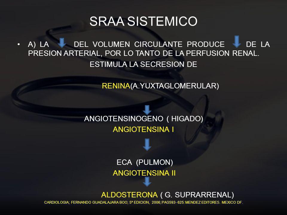 SRAA SISTEMICO A) LA DEL VOLUMEN CIRCULANTE PRODUCE DE LA PRESION ARTERIAL, POR LO TANTO DE LA PERFUSION RENAL. ESTIMULA LA SECRESION DE RENINA(A.YUXT