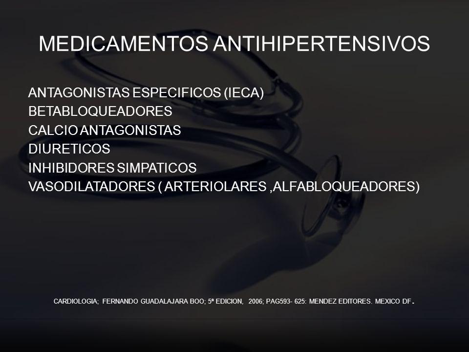 MEDICAMENTOS ANTIHIPERTENSIVOS ANTAGONISTAS ESPECIFICOS (IECA) BETABLOQUEADORES CALCIO ANTAGONISTAS DIURETICOS INHIBIDORES SIMPATICOS VASODILATADORES