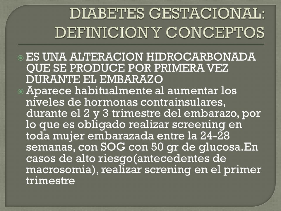 Diabetes pancreo-privas Endocrinopatias: por aumento de hormonas contrainsulares Inducidas por farmacos y subtancias quimicas Defectos genéticos en la