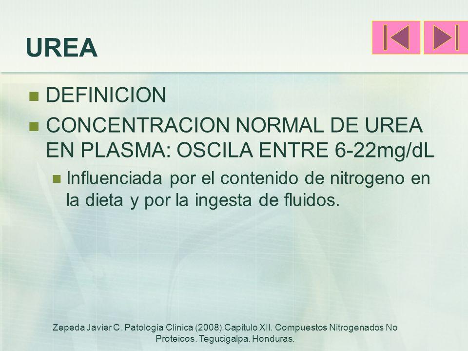UREA DEFINICION CONCENTRACION NORMAL DE UREA EN PLASMA: OSCILA ENTRE 6-22mg/dL Influenciada por el contenido de nitrogeno en la dieta y por la ingesta