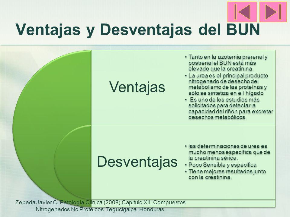Ventajas y Desventajas del BUN Ventajas Desventajas Tanto en la azotemia prerenal y postrenal el BUN está más elevado que la creatinina. La urea es el