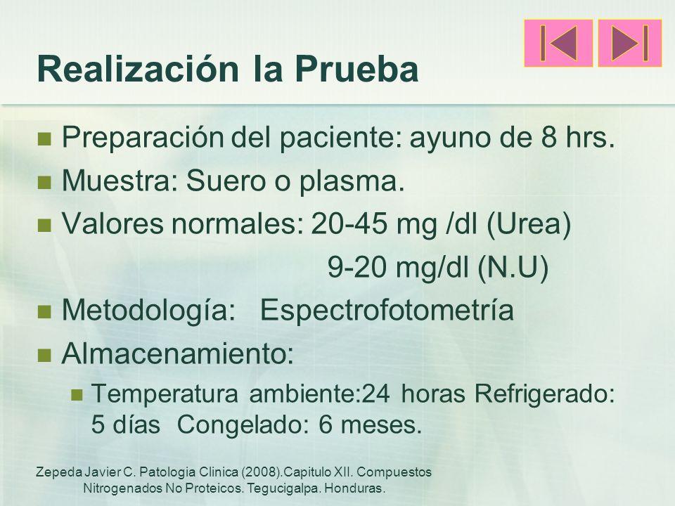 Realización la Prueba Preparación del paciente: ayuno de 8 hrs. Muestra: Suero o plasma. Valores normales: 20-45 mg /dl (Urea) 9-20 mg/dl (N.U) Metodo