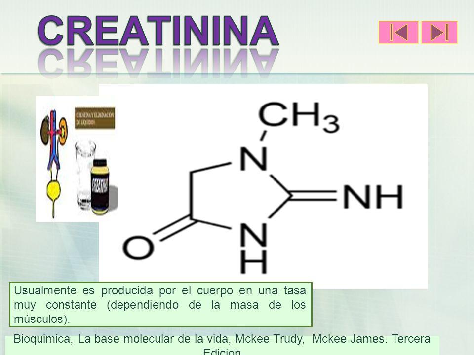 Usualmente es producida por el cuerpo en una tasa muy constante (dependiendo de la masa de los músculos).) Bioquimica, La base molecular de la vida, M
