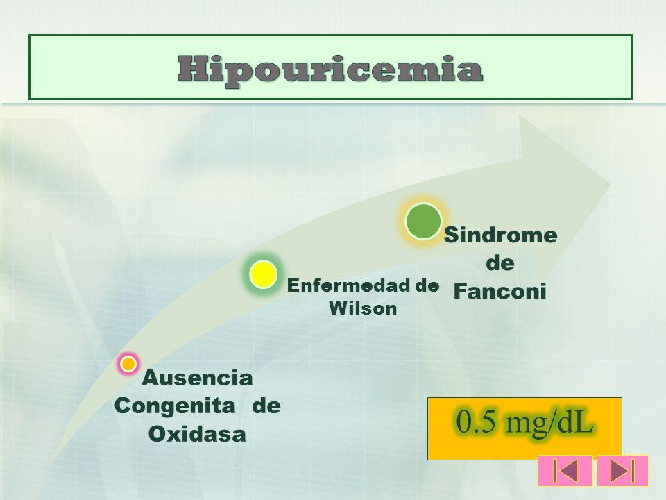 Ausencia Congenita de Oxidasa Enfermedad de Wilson Sindrome de Fanconi