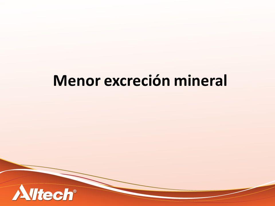 Menor excreción mineral
