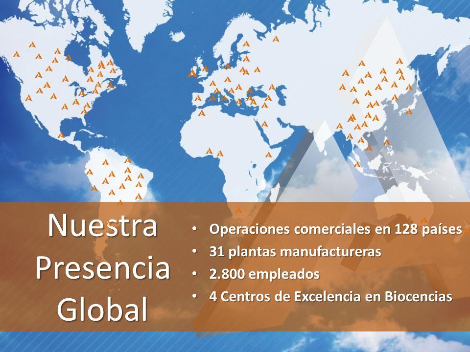 Nuestra Presencia Global Operaciones comerciales en 128 países Operaciones comerciales en 128 países 31 plantas manufactureras 31 plantas manufactureras 2.800 empleados 2.800 empleados 4 Centros de Excelencia en Biocencias 4 Centros de Excelencia en Biocencias