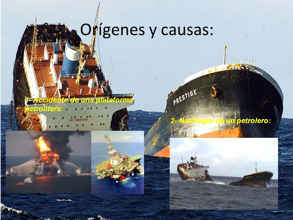 Orígenes y causas: 1- Accidente de una plataforma petrolífera: 2- Naufragio de un petrolero: