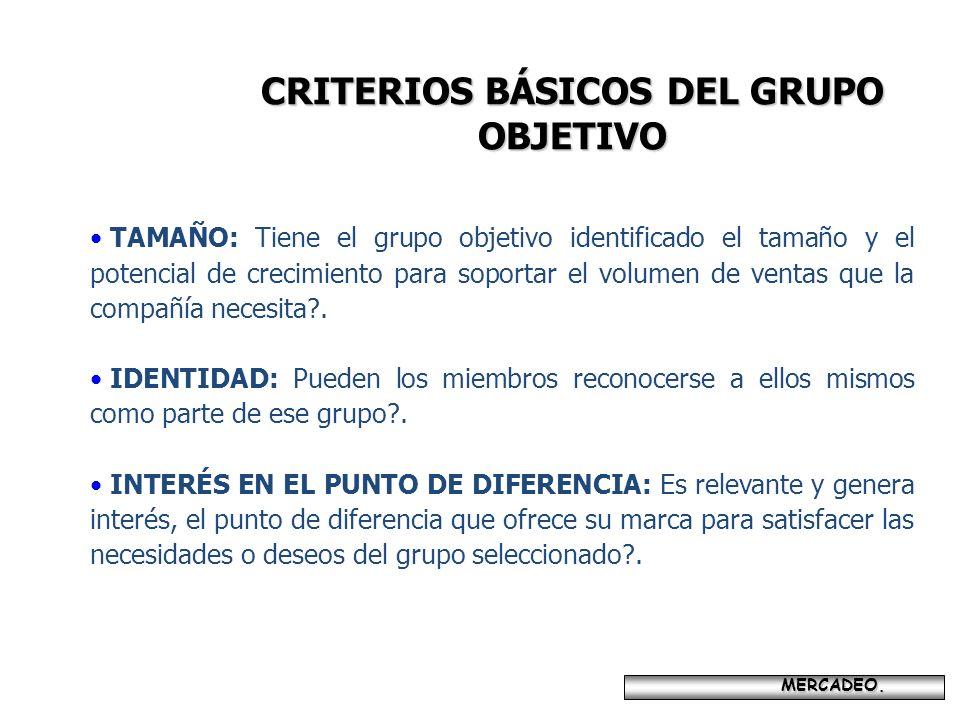 MERCADEO. MERCADEO. CRITERIOS BÁSICOS DEL GRUPO OBJETIVO TAMAÑO: Tiene el grupo objetivo identificado el tamaño y el potencial de crecimiento para sop