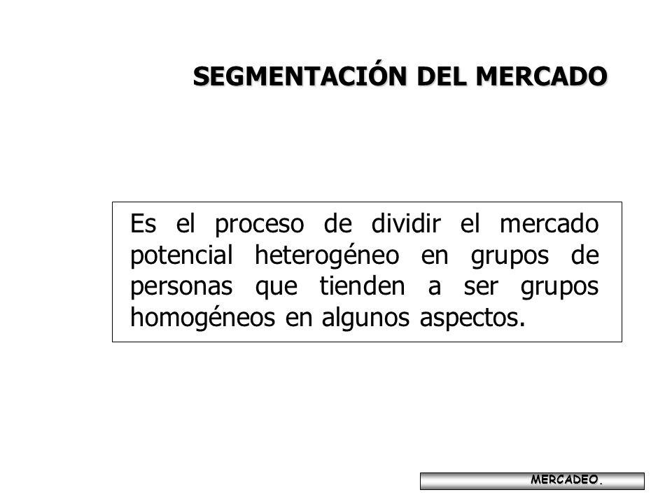 SEGMENTACIÓN DEL MERCADO MERCADEO. MERCADEO. Es el proceso de dividir el mercado potencial heterogéneo en grupos de personas que tienden a ser grupos