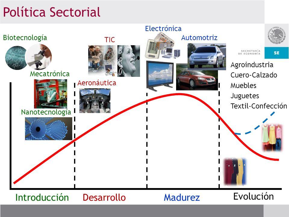 IntroducciónDesarrolloMadurez Evolución Nanotecnología Biotecnología Mecatrónica Electrónica Automotriz Aeronáutica TIC Agroindustria Cuero-Calzado Mu