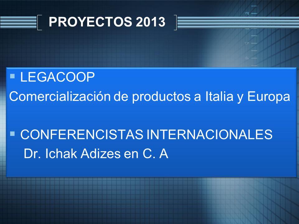 PROYECTOS 2013 LEGACOOP Comercialización de productos a Italia y Europa CONFERENCISTAS INTERNACIONALES Dr. Ichak Adizes en C. A LEGACOOP Comercializac