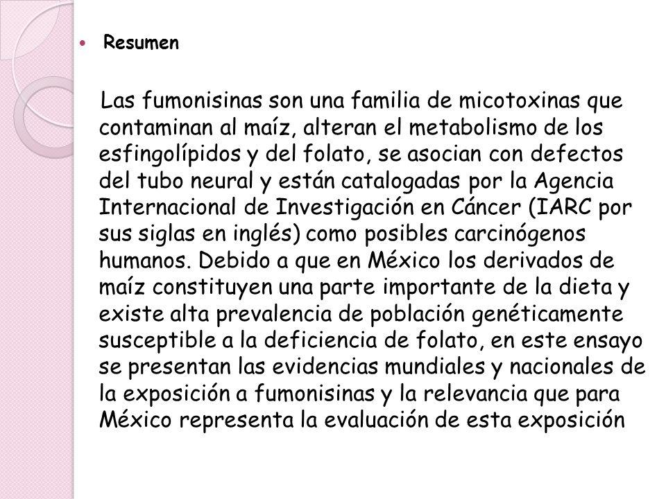 Resumen Las fumonisinas son una familia de micotoxinas que contaminan al maíz, alteran el metabolismo de los esfingolípidos y del folato, se asocian c