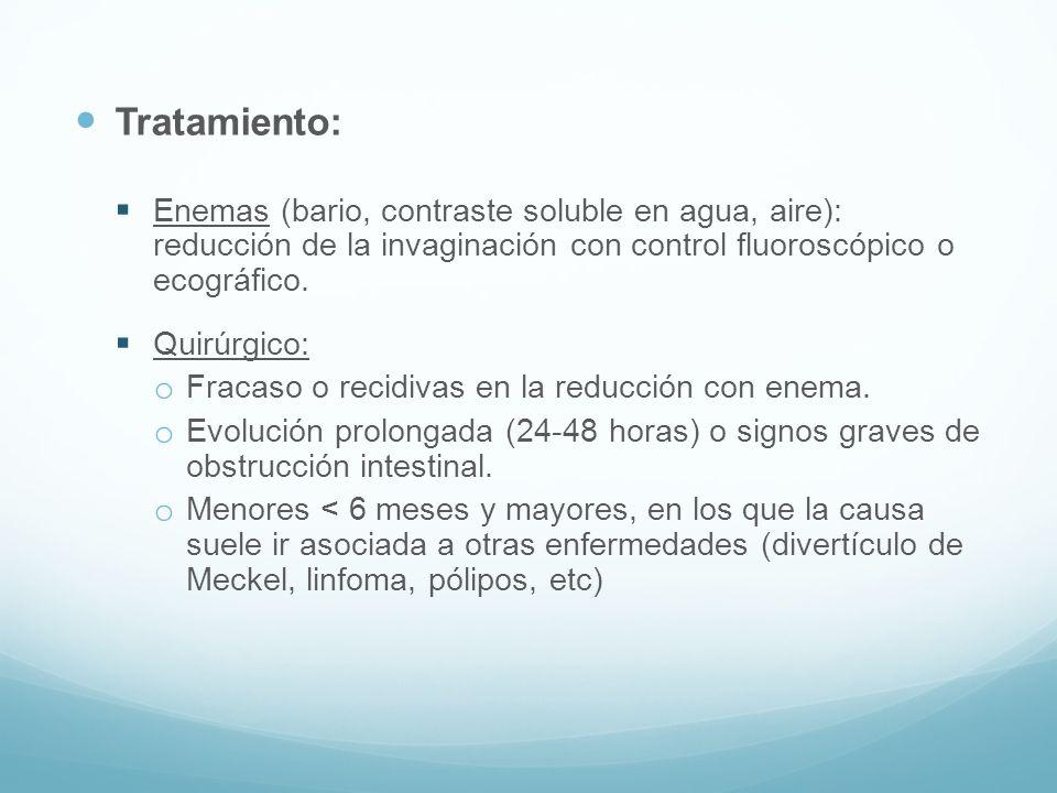 Tratamiento: Enemas (bario, contraste soluble en agua, aire): reducción de la invaginación con control fluoroscópico o ecográfico. Quirúrgico: o Fraca