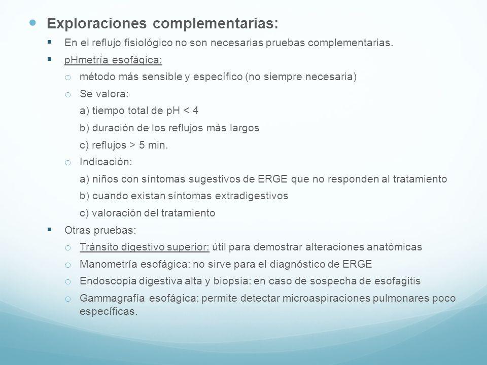 Exploraciones complementarias: En el reflujo fisiológico no son necesarias pruebas complementarias. pHmetría esofágica: o método más sensible y especí
