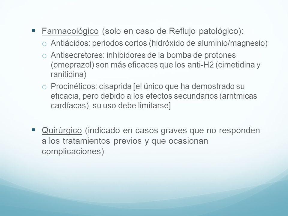Farmacológico (solo en caso de Reflujo patológico): o Antiácidos: periodos cortos (hidróxido de aluminio/magnesio) o Antisecretores: inhibidores de la