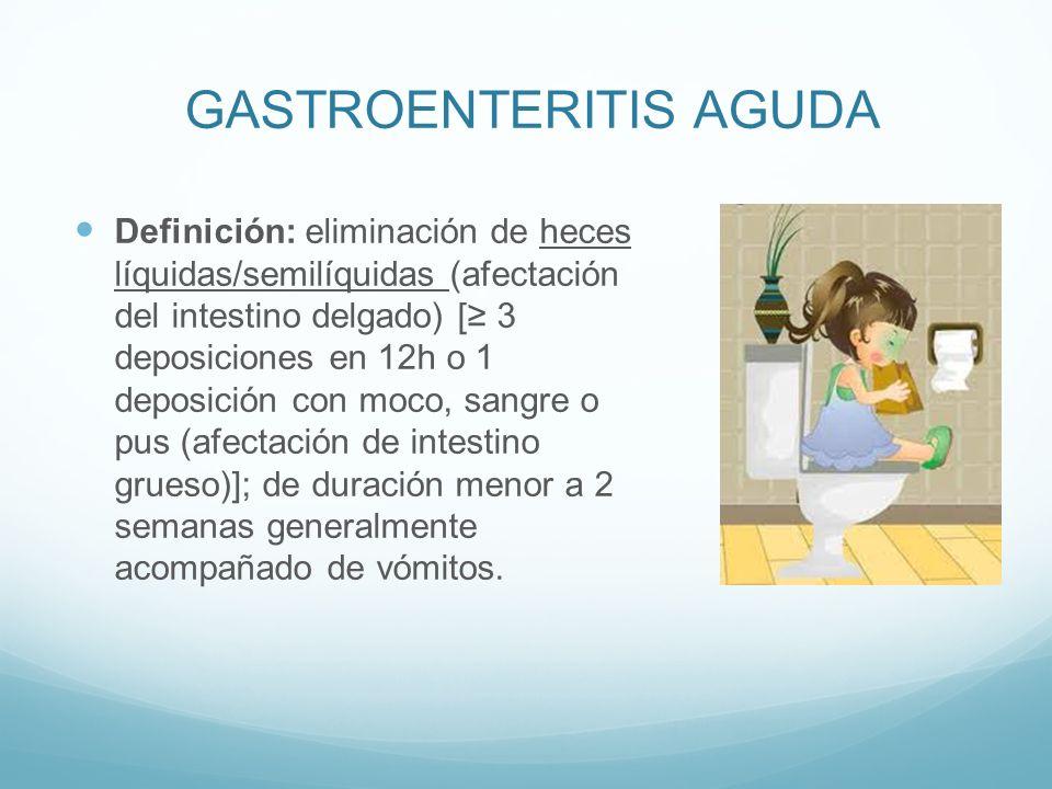GASTROENTERITIS AGUDA Definición: eliminación de heces líquidas/semilíquidas (afectación del intestino delgado) [ 3 deposiciones en 12h o 1 deposición