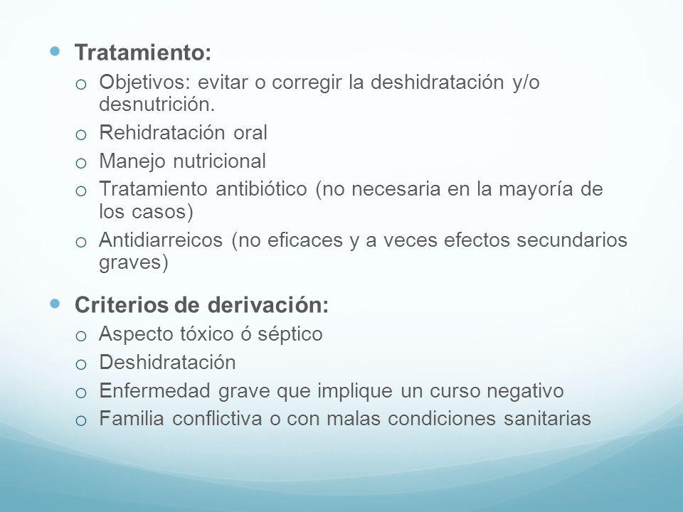 Tratamiento: o Objetivos: evitar o corregir la deshidratación y/o desnutrición. o Rehidratación oral o Manejo nutricional o Tratamiento antibiótico (n