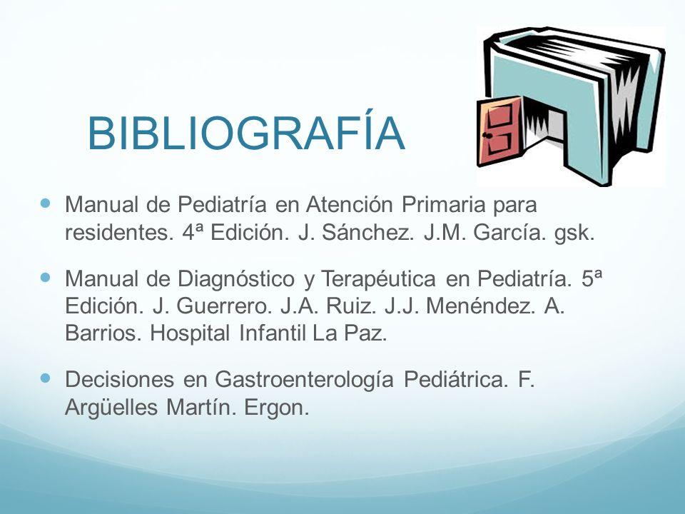 BIBLIOGRAFÍA Manual de Pediatría en Atención Primaria para residentes. 4ª Edición. J. Sánchez. J.M. García. gsk. Manual de Diagnóstico y Terapéutica e