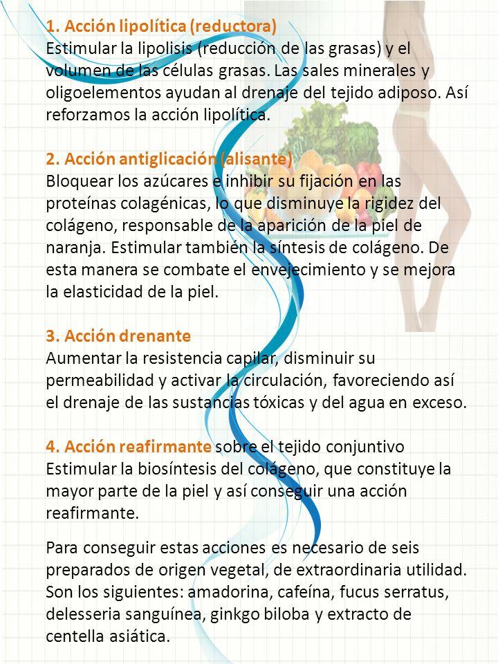 1. Acción lipolítica (reductora) Estimular la lipolisis (reducción de las grasas) y el volumen de las células grasas. Las sales minerales y oligoeleme