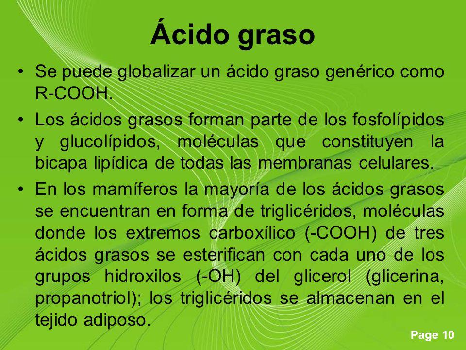 Page 10 Ácido graso Se puede globalizar un ácido graso genérico como R-COOH. Los ácidos grasos forman parte de los fosfolípidos y glucolípidos, molécu