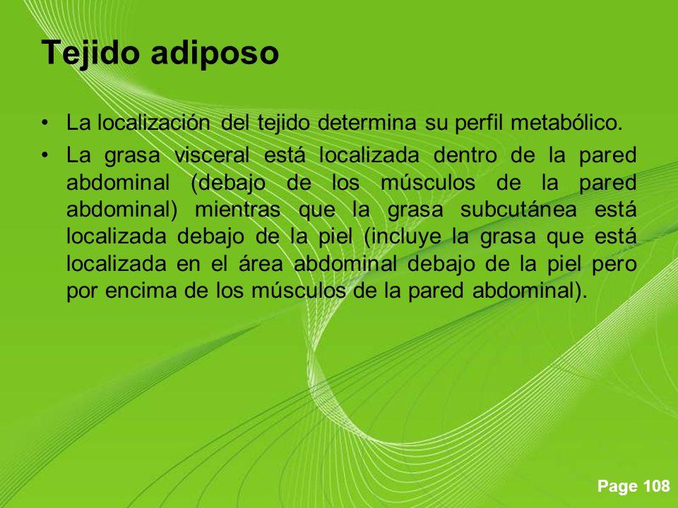 Page 108 Tejido adiposo La localización del tejido determina su perfil metabólico. La grasa visceral está localizada dentro de la pared abdominal (deb