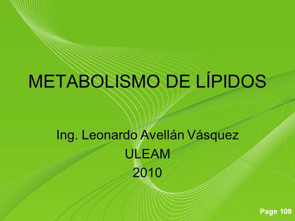 Page 109 METABOLISMO DE LÍPIDOS Ing. Leonardo Avellán Vásquez ULEAM 2010