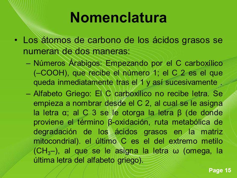 Page 15 Nomenclatura Los átomos de carbono de los ácidos grasos se numeran de dos maneras: –Números Árabigos: Empezando por el C carboxílico (–COOH), que recibe el número 1; el C 2 es el que queda inmediatamente tras el 1 y así sucesivamente.