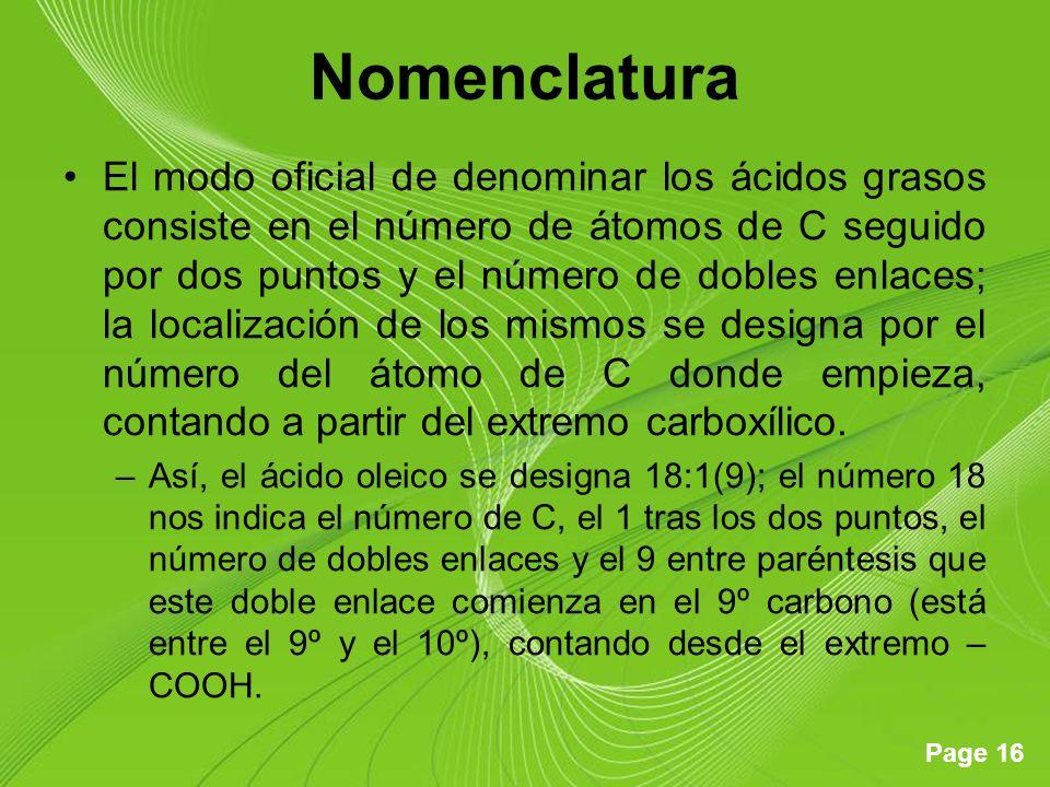 Page 16 Nomenclatura El modo oficial de denominar los ácidos grasos consiste en el número de átomos de C seguido por dos puntos y el número de dobles enlaces; la localización de los mismos se designa por el número del átomo de C donde empieza, contando a partir del extremo carboxílico.