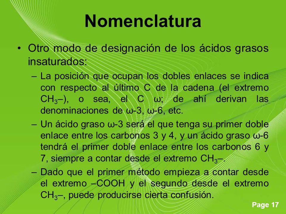 Page 17 Nomenclatura Otro modo de designación de los ácidos grasos insaturados: –La posición que ocupan los dobles enlaces se indica con respecto al ú