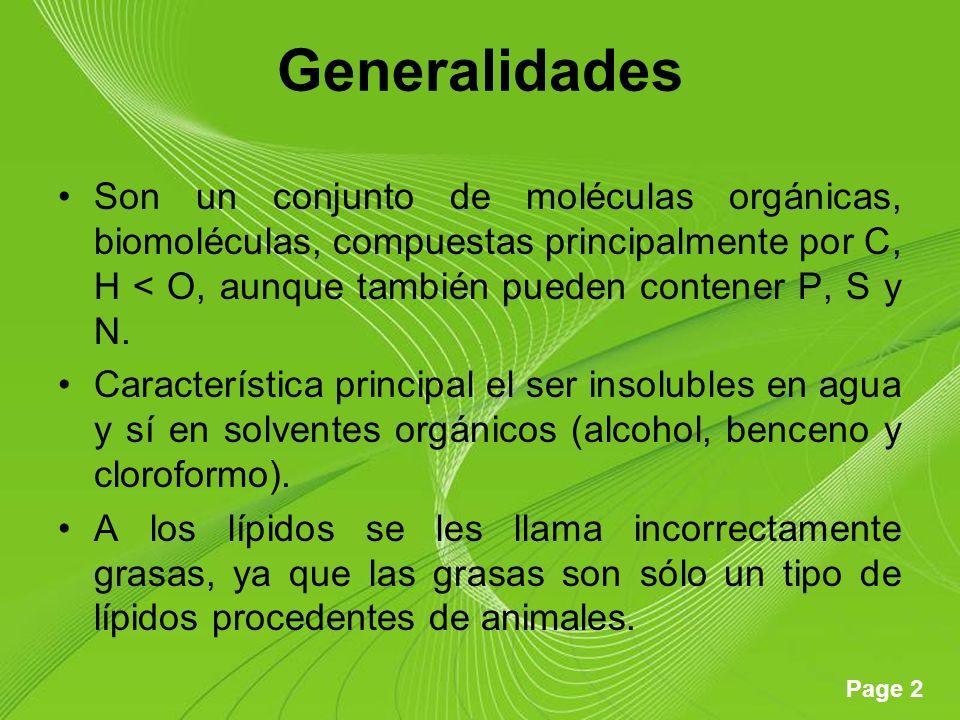 Page 2 Generalidades Son un conjunto de moléculas orgánicas, biomoléculas, compuestas principalmente por C, H < O, aunque también pueden contener P, S y N.