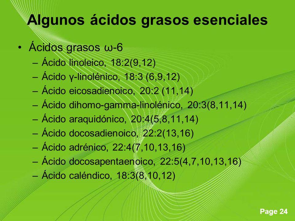 Page 24 Algunos ácidos grasos esenciales Ácidos grasos ω-6 –Ácido linoleico, 18:2(9,12) –Ácido γ-linolénico, 18:3 (6,9,12) –Ácido eicosadienoico, 20:2 (11,14) –Ácido dihomo-gamma-linolénico, 20:3(8,11,14) –Ácido araquidónico, 20:4(5,8,11,14) –Ácido docosadienoico, 22:2(13,16) –Ácido adrénico, 22:4(7,10,13,16) –Ácido docosapentaenoico, 22:5(4,7,10,13,16) –Ácido caléndico, 18:3(8,10,12)