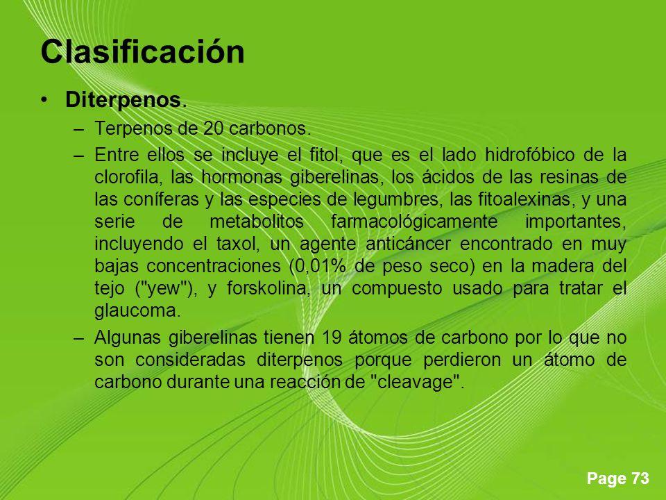 Page 73 Clasificación Diterpenos. –Terpenos de 20 carbonos. –Entre ellos se incluye el fitol, que es el lado hidrofóbico de la clorofila, las hormonas