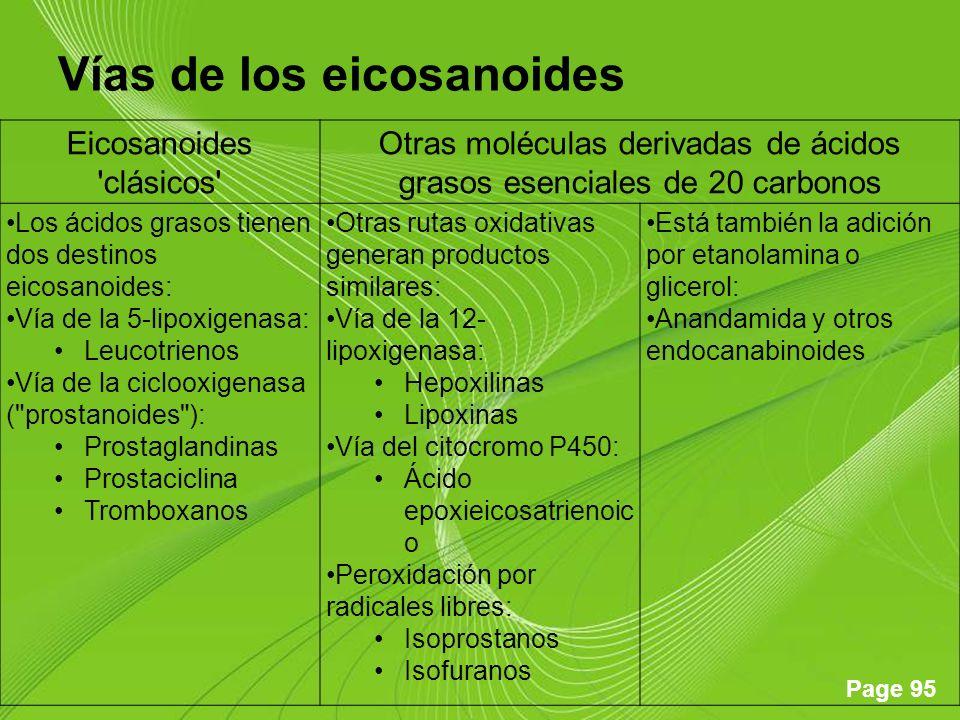 Page 95 Vías de los eicosanoides Eicosanoides 'clásicos' Otras moléculas derivadas de ácidos grasos esenciales de 20 carbonos Los ácidos grasos tienen