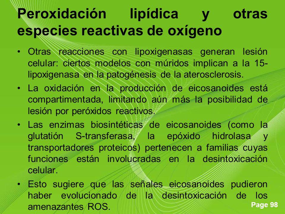 Page 98 Peroxidación lipídica y otras especies reactivas de oxígeno Otras reacciones con lipoxigenasas generan lesión celular: ciertos modelos con múridos implican a la 15- lipoxigenasa en la patogénesis de la aterosclerosis.