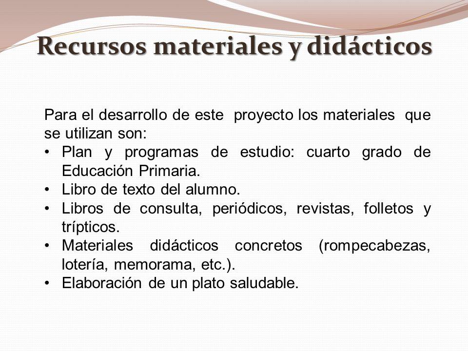Recursos materiales y didácticos Para el desarrollo de este proyecto los materiales que se utilizan son: Plan y programas de estudio: cuarto grado de