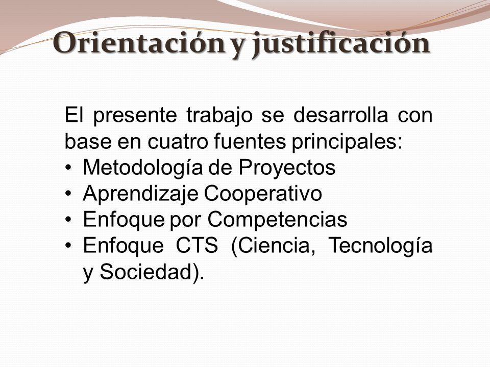 Orientación y justificación El presente trabajo se desarrolla con base en cuatro fuentes principales: Metodología de Proyectos Aprendizaje Cooperativo