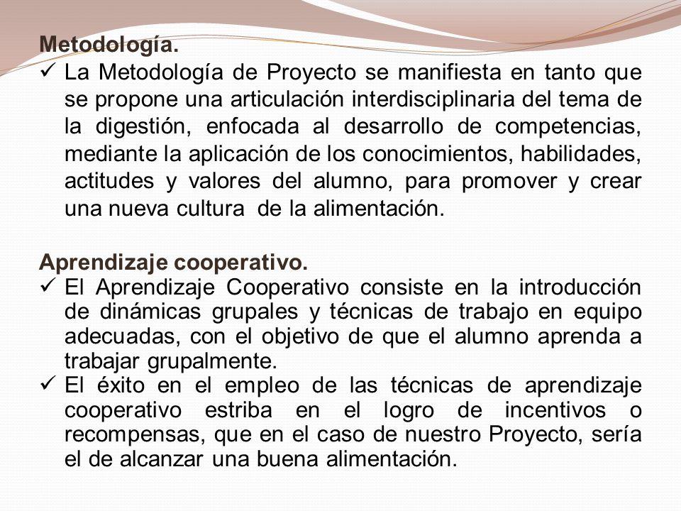 Metodología. La Metodología de Proyecto se manifiesta en tanto que se propone una articulación interdisciplinaria del tema de la digestión, enfocada a