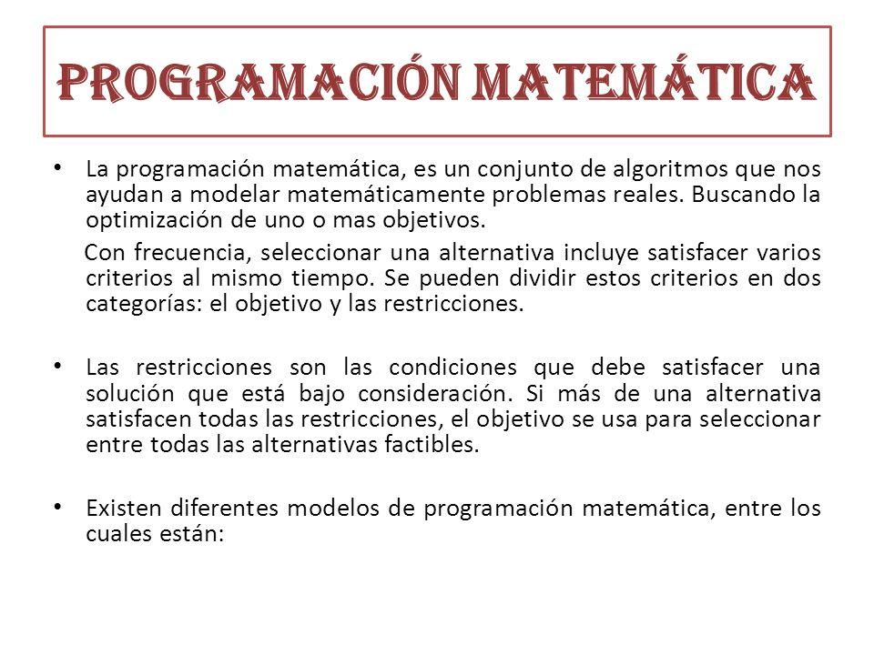 Programación matemática La programación matemática, es un conjunto de algoritmos que nos ayudan a modelar matemáticamente problemas reales. Buscando l