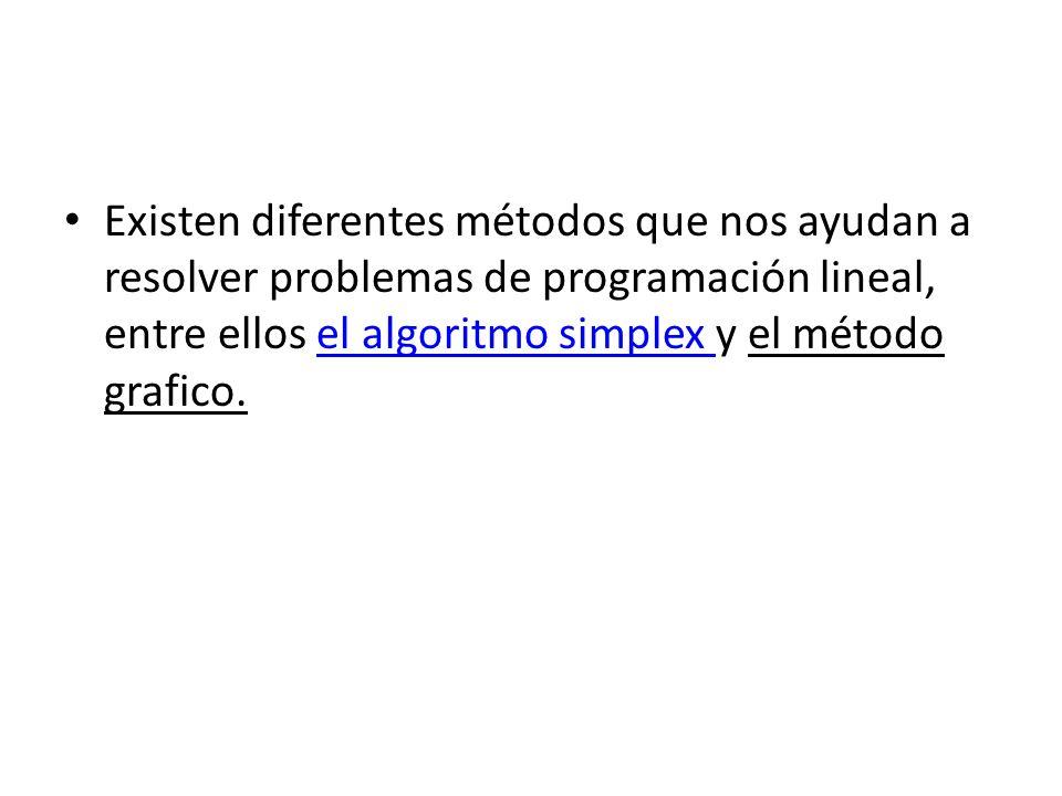 Existen diferentes métodos que nos ayudan a resolver problemas de programación lineal, entre ellos el algoritmo simplex y el método grafico.el algorit