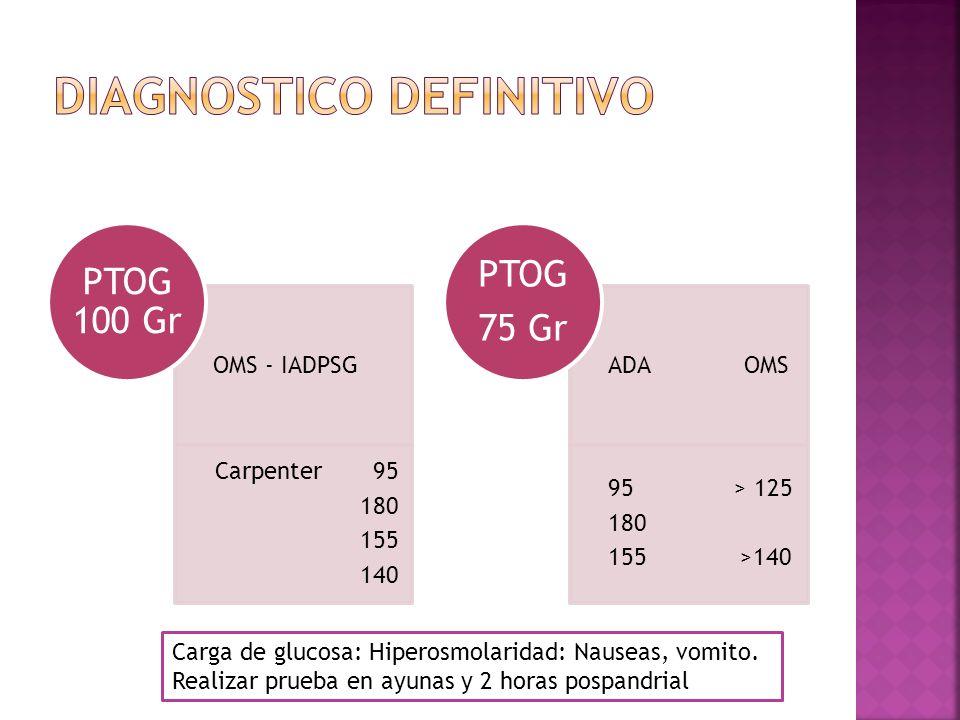 OMS - IADPSG Carpenter 95 180 155 140 PTOG 100 Gr ADA OMS 95 > 125 180 155 >140 PTOG 75 Gr Carga de glucosa: Hiperosmolaridad: Nauseas, vomito.