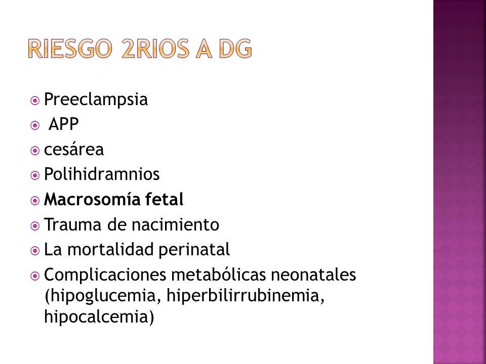 Preeclampsia APP cesárea Polihidramnios Macrosomía fetal Trauma de nacimiento La mortalidad perinatal Complicaciones metabólicas neonatales (hipogluce