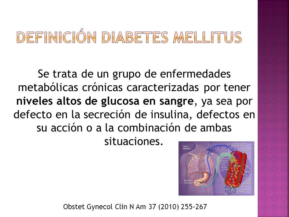 Se trata de un grupo de enfermedades metabólicas crónicas caracterizadas por tener niveles altos de glucosa en sangre, ya sea por defecto en la secrec