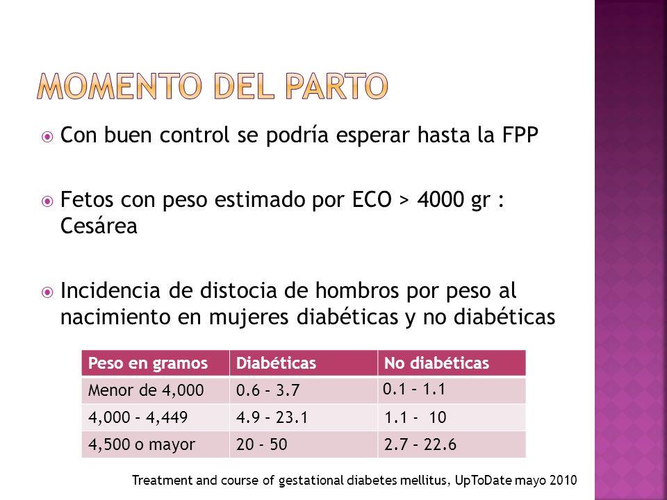 Con buen control se podría esperar hasta la FPP Fetos con peso estimado por ECO > 4000 gr : Cesárea Incidencia de distocia de hombros por peso al nacimiento en mujeres diabéticas y no diabéticas Peso en gramosDiabéticasNo diabéticas Menor de 4,0000.6 – 3.7 0.1 – 1.1 4,000 – 4,4494.9 – 23.11.1 - 10 4,500 o mayor20 - 502.7 – 22.6 Treatment and course of gestational diabetes mellitus, UpToDate mayo 2010
