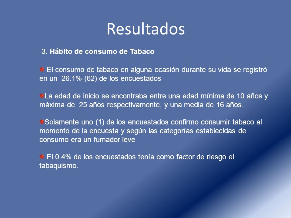 Resultados 3. Hábito de consumo de Tabaco El consumo de tabaco en alguna ocasión durante su vida se registró en un 26.1% (62) de los encuestados La ed