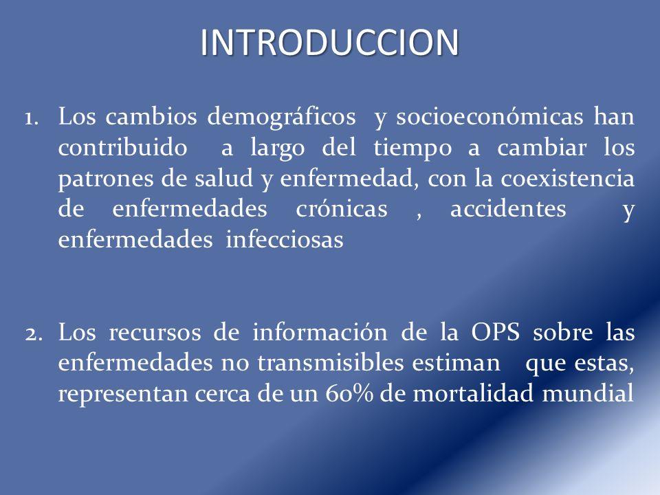INTRODUCCION 1.Los cambios demográficos y socioeconómicas han contribuido a largo del tiempo a cambiar los patrones de salud y enfermedad, con la coex