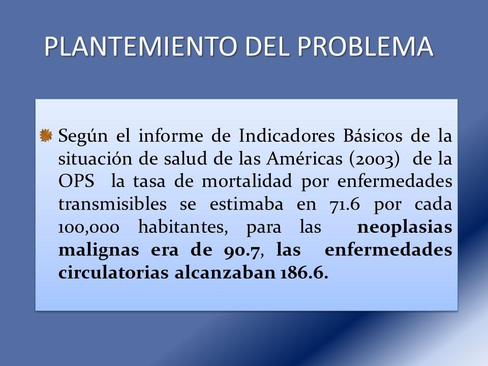 PLANTEMIENTO DEL PROBLEMA Según el informe de Indicadores Básicos de la situación de salud de las Américas (2003) de la OPS la tasa de mortalidad por