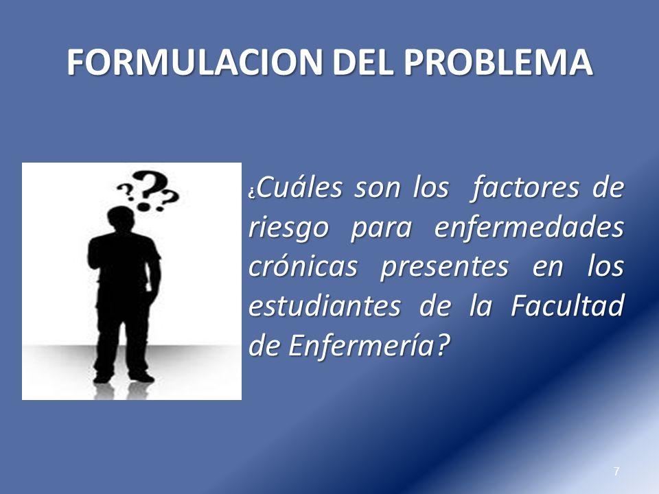 FORMULACION DEL PROBLEMA 7 ¿ Cuáles son los factores de riesgo para enfermedades crónicas presentes en los estudiantes de la Facultad de Enfermería?