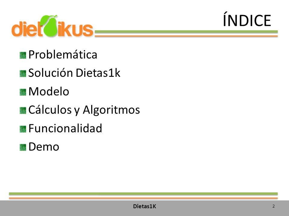 ÍNDICE Problemática Solución Dietas1k Modelo Cálculos y Algoritmos Funcionalidad Demo Dietas1K 2